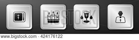 Set Online Church Pastor Preaching, Burning Candle Candlestick, Christian Chalice And Priest Icon. S