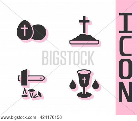 Set Christian Chalice, Easter Egg, Crucifixion Of Jesus And Grave With Cross Icon. Vector