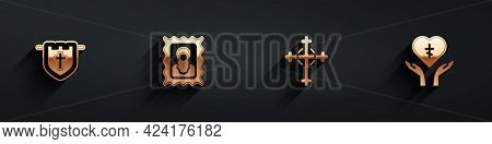 Set Flag With Christian Cross, Christian Icon, And Religious In Heart Icon With Long Shadow. Vector