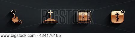 Set Magic Staff, Grave With Cross, Online Church Pastor Preaching And Icon With Long Shadow. Vector
