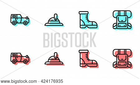 Set Line Hunter Boots, Off Road Car, Hat And Hiking Backpack Icon. Vector
