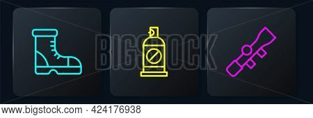 Set Line Hunter Boots, Sniper Optical Sight And Spray Against Insects. Black Square Button. Vector