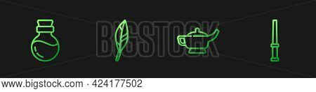 Set Line Magic Lamp Or Aladdin, Bottle With Potion, Feather And Wand. Gradient Color Icons. Vector