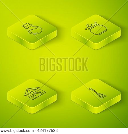 Set Isometric Line Witch Cauldron, Circus Tent, Witches Broom And Bottle With Potion Icon. Vector