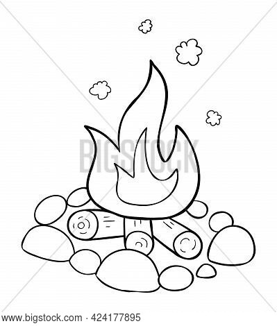 Cartoon Vector Illustration Of Campfire, Stones, Firewood And Burning Fire. Black Outlined And White