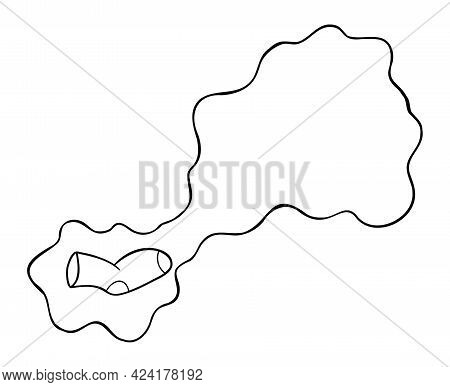 Cartoon Vector Illustration Of Smelly Sock. Black Outlined And White Colored.