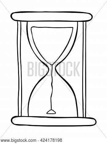Cartoon Vector Illustration Of Newly Started Sand Watch. Black Outlined And White Colored.