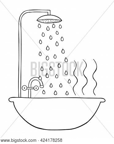 Cartoon Vector Illustration Of Shower, Bathtub And Hot Water. Black Outlined And White Colored.