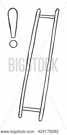 Cartoon Vector Illustration Of Wooden Ladder With Missing Steps And Exclamation Mark. Black Outlined
