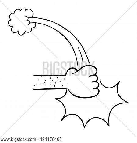 Cartoon Vector Illustration Of Fist Punch Table. Black Outlined And White Colored.