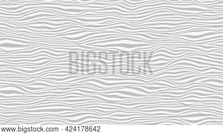 Wavy Striped Surface. Grey And White Lines With Ripples Effect. Vector Background.