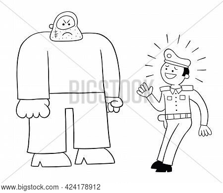 Cartoon Police Man Afraid Of The Big Man, Vector Illustration. Black Outlined And White Colored.