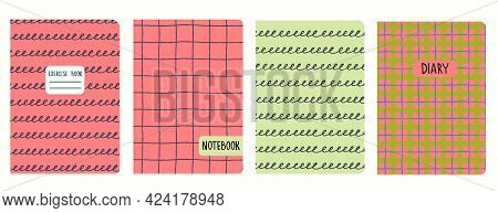 Cover Page Templates Based On Seamless Patterns With Hand Drawn Grid, Plaid, Spiral Lines. Headers I