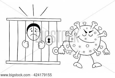 Cartoon Coronavirus Monster Locked The Man In Jail, Vector Illustration. Black Outlined And White Co