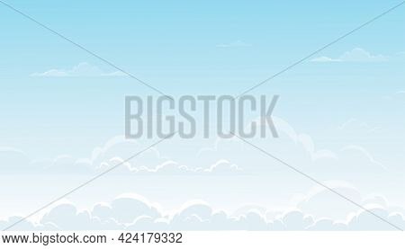 Blue Sky With Altostratus Clouds Background,vector Cartoon Sky With Cirrus Clouds, Concept All Seaso