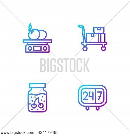 Set Line Clock 24 Hours, Jam Jar, Electronic Scales For Product And Hand Truck And Boxes. Gradient C