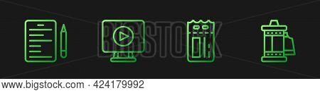 Set Line Cinema Ticket, Scenario, Online Play Video And Camera Roll Cartridge. Gradient Color Icons.