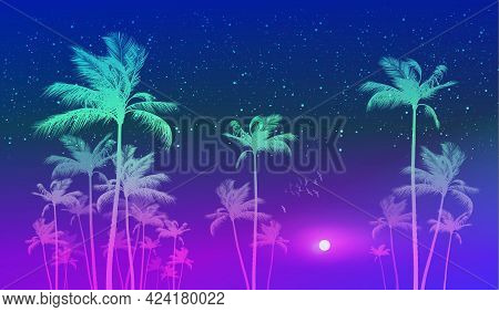 Tropical Sunset With Silhouette Of Palm Trees N The Background Of Blue Sky