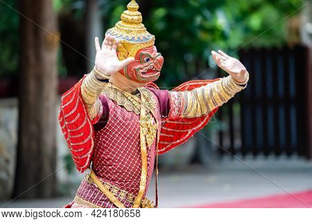The Performance Of Red Garuda Acting In Thai Traditional Drama Story Khon Epic, Ramakien Or Ramayana