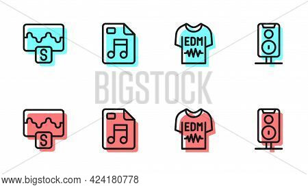 Set Line T-shirt, Music Wave Equalizer, Mp3 File Document And Stereo Speaker Icon. Vector