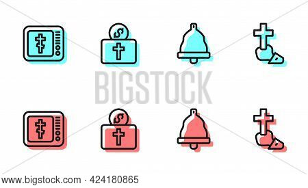 Set Line Church Bell, Online Church Pastor Preaching, Donation For And Christian Cross Icon. Vector
