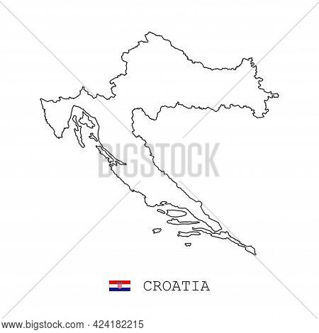 Croatia Map Line, Linear Thin Vector Simple Outline E And Flag. Black On White Background