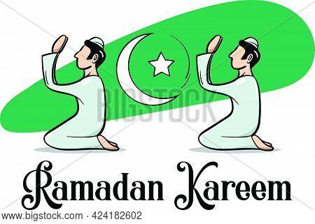 Ramadan Kareem Or Ramadan Mubarak Vector Illustration. Crescent Moon Along With Men Praying To God.