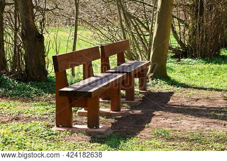 Two Unused Wooden Benches Next To Each Other In The Park