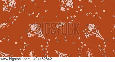 Vector Seamless Pattern With Wildflowers On Bright Background