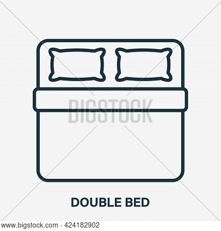Double Bed Line Icon. Pillow And Blanket Outline Pictogram. Bedding Linear Icon. Top View. Size Of B
