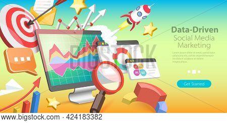 3d Isometric Flat Vector Conceptual Illustration Of Data-driven Marketing Strategy, Consumer Behavio