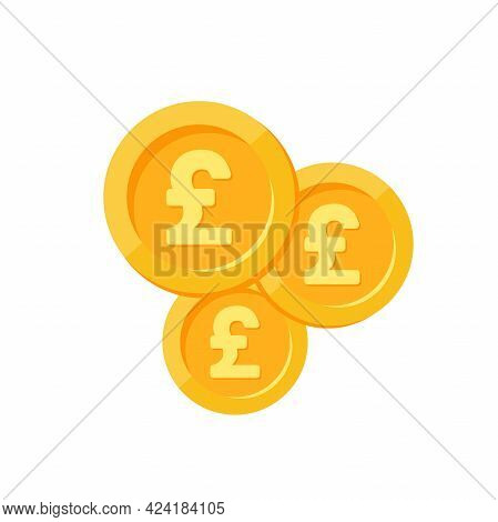 Gold Pound Sterling Coins On White Background. Flat Vector Illustration. Economy, Finance, Money Wal