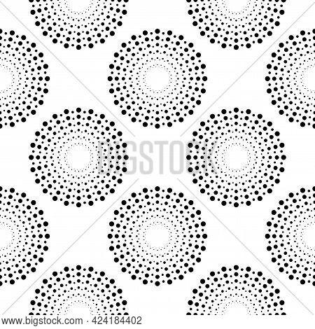 Celebration Seamless Pattern. Radiant Abstract Firework. Circular Pattern. Pop Art Round Halftone.