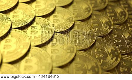 Close-up View On Organized Pile Or Stacks Of Bitcoin Coins. Top View On Bitcoin Coins Background. 3d
