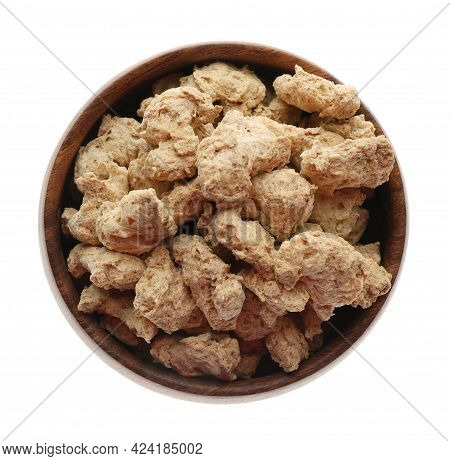 Dehydrated Soy Meat Chunks In Bowl On White Background, Top View