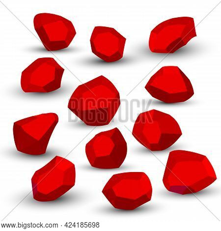 Cartoon Stones. Rock Stone Isometric Set. Red Boulders, Natural Building Block Shapes, Wall Stones.
