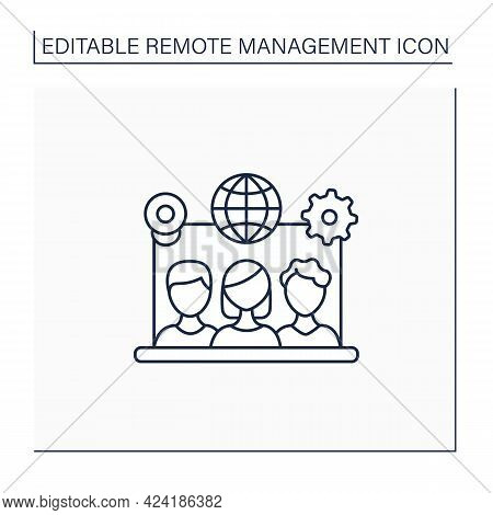 Remote Team Tools Line Icon. Connection Co-workers Experience. Similar Priorities, Interests. Non-to