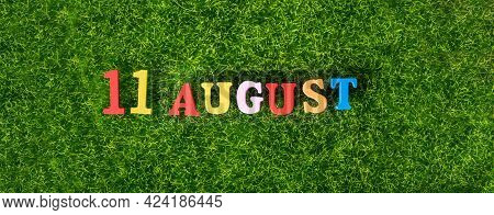 August 11. Image Of Wooden Colored Letters And Numbers On August 11 Against The Background Of A Gree