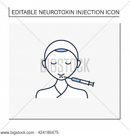 Cosmetic Injection Line Icon.injection In Chin. Lifting.rejuvenation. Full Syringe. Beauty Cosmetic