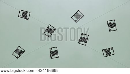 Composition of tablet and stylus repeated floating over grey background. school, education and study concept digitally generated image.