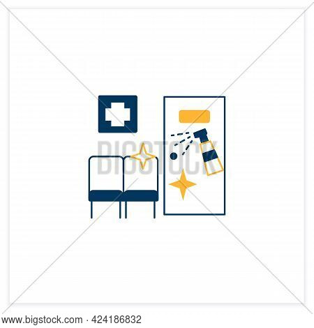 Disinfection In Hospitals Flat Icon. Sanitizing Wards And Beds. Isolating Patients. Safety Space And