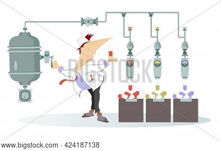 Smiling Doctor Makes Medications. Illustration. Cheerfulness Doctor Works On The Plant Producing Pil