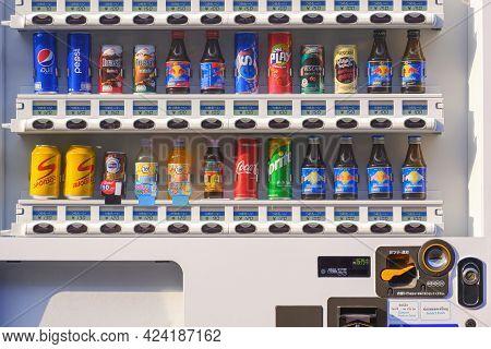 Samutsakhon, Thailand - January31,2021: Various Soft Drink And Energy Drink In White Drinks Vending