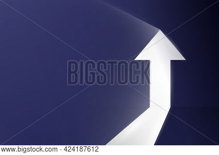 Business Arrow Growth Up Direction Concept To Success. Arrow Shaped Doorway. Vector Illustration