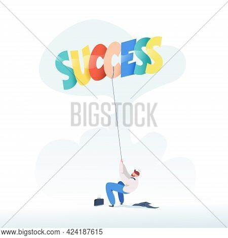 Businessman Pulling A Rope Balloons Success. Business Concept Of Success. Trendy Flat Design. Vector