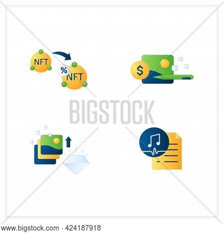 Nft Flat Icons Set.non Fungible Tokens Resale, Digital Receipt, Work Ownership.unique Digital Assets