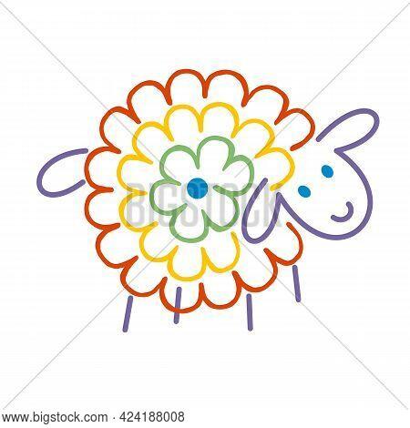 Flower Rainbow Sheep, Funny Cute Cartoon Character. Hand-drawn Full Color Vector. Pet, Farm, Sweet A