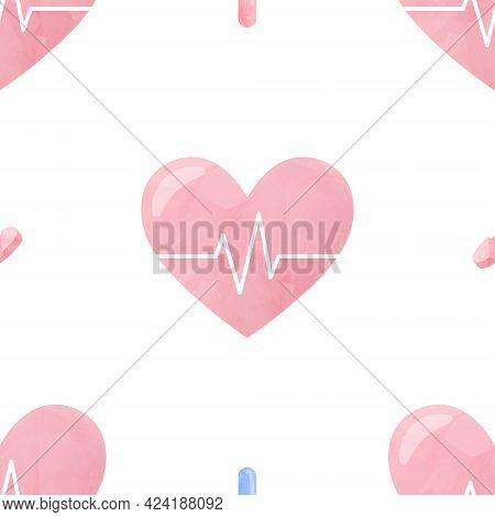 Watercolor Seamless Pattern Heart Health Medical Cliparts, Healthcare Clipart, Medical Illustration,