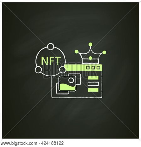Nft Supermarket Chalk Icon.ability To Buy Non Fungible Tokens. Unique Digital Assets Market. Assets