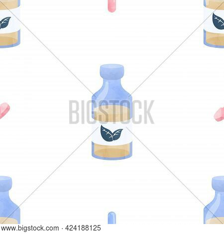 Watercolor Seamless Pattern Potion Health Medical Cliparts, Healthcare Clipart, Medical Illustration